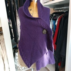 Hand Knit Cabled 2 Button Shawl/Shrug